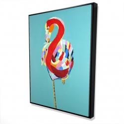 Framed 36 x 48 - 3D - Colorful flamingo