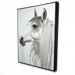 Framed 36 x 48 - 3D - Beautiful white horse