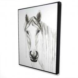 Framed 36 x 48 - 3D - Solitary white horse