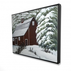 Framed 36 x 48 - 3D - Red barn in snow