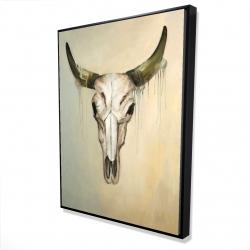 Framed 36 x 48 - 3D - Color fading bull skull