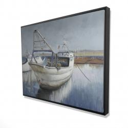 Framed 36 x 48 - 3D - Blue fishing boat