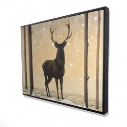 Framed 36 x 48 - 3D - Roe deer in winter