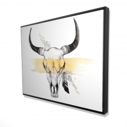 Framed 36 x 48 - 3D - Cow skull with feather