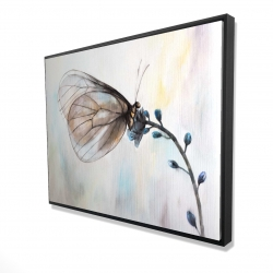 Framed 36 x 48 - 3D - Butterfly on blue flowers