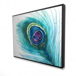 Framed 36 x 48 - 3D - Peacock feather closeup