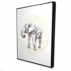 Framed 36 x 48 - 3D - Elephant on mandalas pattern