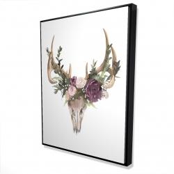 Framed 36 x 48 - 3D - Deer skull with flowers