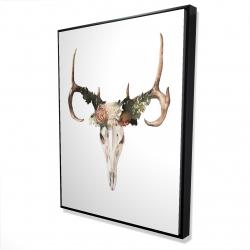 Framed 36 x 48 - 3D - Deer skull with roses