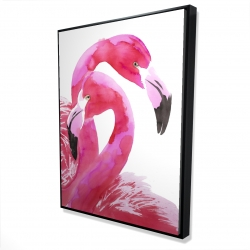 Framed 36 x 48 - 3D - Watercolor flamingo love