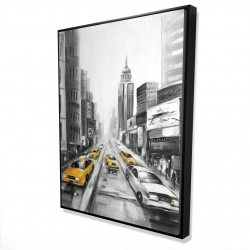 Framed 36 x 48 - 3D - Yellow taxis in new york