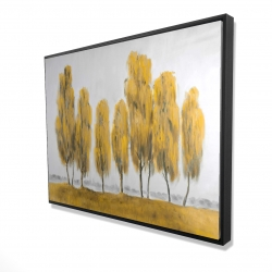 Framed 36 x 48 - 3D - Seven abstract yellow trees
