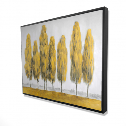 Framed 36 x 48 - 3D - Abstract yellow trees
