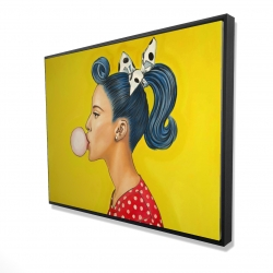 Framed 36 x 48 - 3D - Retro woman with beautiful ponytail