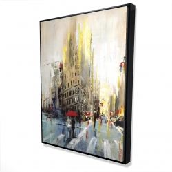 Framed 36 x 48 - 3D - Abstract rainy street