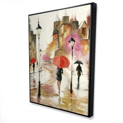 Framed 36 x 48 - 3D - Passersby under their umbrellas