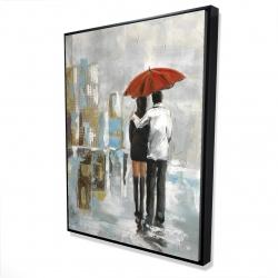 Framed 36 x 48 - 3D - Couple walking under their umbrella