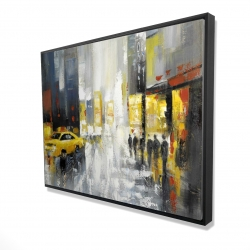 Framed 36 x 48 - 3D - Rainy busy street