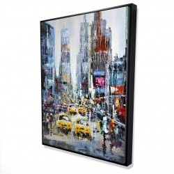Framed 36 x 48 - 3D - Urban scene with yellow taxis