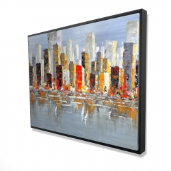 Framed 36 x 48 - 3D - Colorful buildings with water reflection