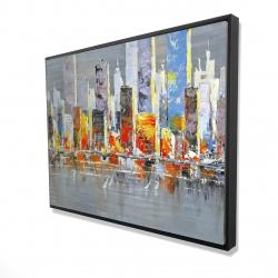 Framed 36 x 48 - 3D - Color splash cityscape