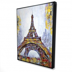 Framed 36 x 48 - 3D - Abstract paint splash eiffel tower