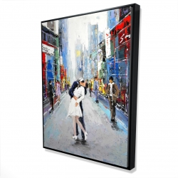 Framed 36 x 48 - 3D - Kiss of times square