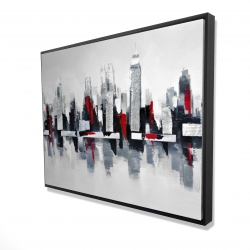 Framed 36 x 48 - 3D - Gray and red cityscape