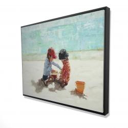 Framed 36 x 48 - 3D - Little girls at the beach