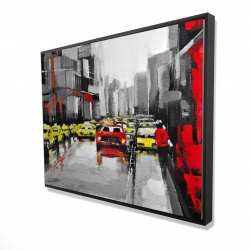 Framed 36 x 48 - 3D - Abstract traffic by a rainy day