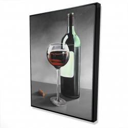 Framed 36 x 48 - 3D - Bottle of burgundy