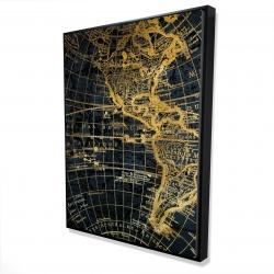 Framed 36 x 48 - 3D - Blue and marine world map globe