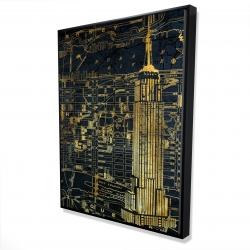 Framed 36 x 48 - 3D - Gold city blue print