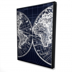 Framed 36 x 48 - 3D - World map blue print