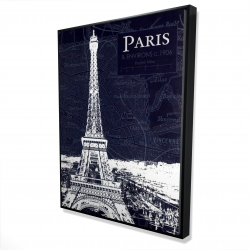 Framed 36 x 48 - 3D - Paris blue print and eiffel tower