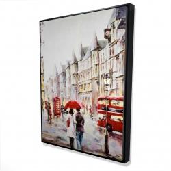 Framed 36 x 48 - 3D - European street by a rainy day