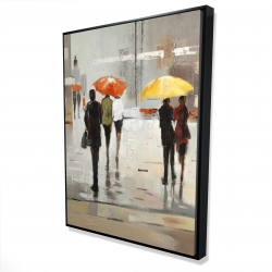 Framed 36 x 48 - 3D - Abstract passersby with umbrellas