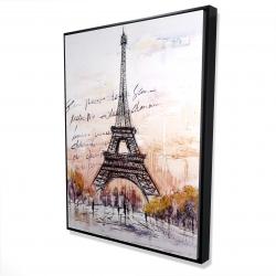 Framed 36 x 48 - 3D - Eiffel tower sketch with an handwritten message