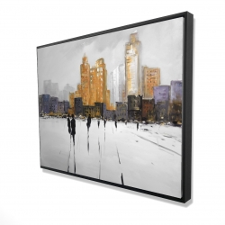 Framed 36 x 48 - 3D - Silhouettes walking towards the city