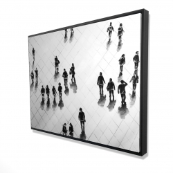 Framed 36 x 48 - 3D - Overhead view of people on the street