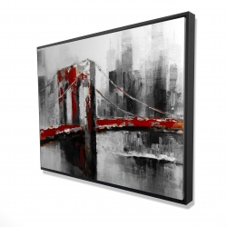 Framed 36 x 48 - 3D - Abstract and red brooklyn bridge