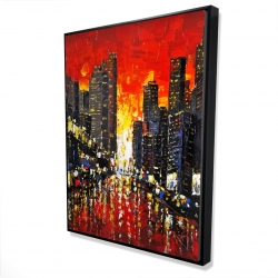 Framed 36 x 48 - 3D - Abstract sunset on the city