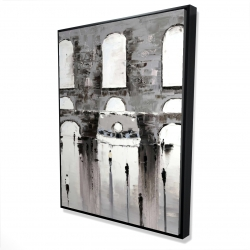 Framed 36 x 48 - 3D - Gray building with passersby