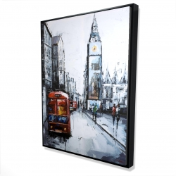 Framed 36 x 48 - 3D - Abstract london and red bus