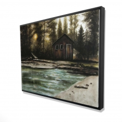 Framed 36 x 48 - 3D - Cabin in the forest