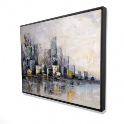 Framed 36 x 48 - 3D - Abstract cityscape in the morning