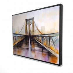Framed 36 x 48 - 3D - Colorful brooklyn bridge