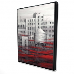 Framed 36 x 48 - 3D - Gray city with red clouds