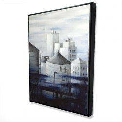 Framed 36 x 48 - 3D - Gray city with blue clouds