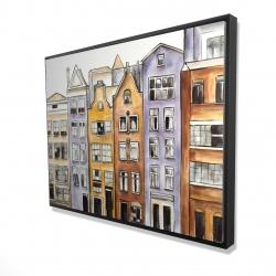 Framed 36 x 48 - 3D - Amsterdam houses hotel